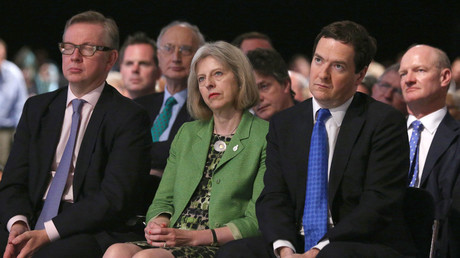 Education Secretary Michael Gove (L), Home Secretary Theresa May (C) and Chancellor George Osborne (2nd R). © Oli Scarff