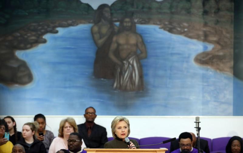 Democratic presidential candidate Hillary Clinton speaks at the House Of Prayer Missionary Baptist Church, Sunday, Feb. 7, 2016 in Flint, Mich. (AP Photo/Paul Sancya)