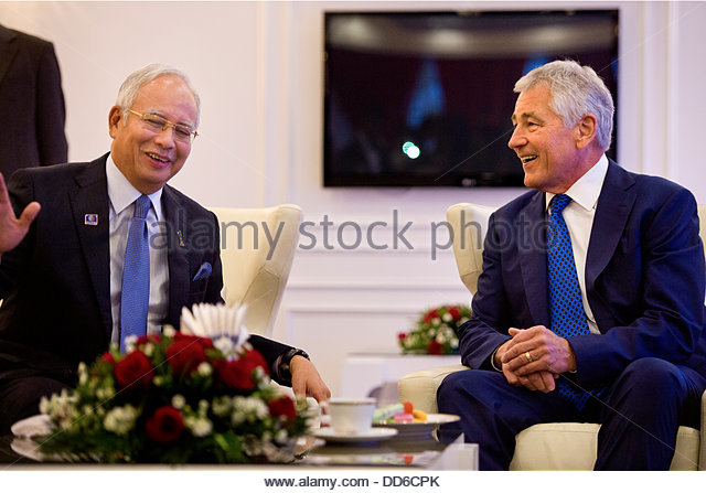 Kuala Lumpur, Malaysia. 25th Aug, 2013. US Secretary of Defense Chuck Hagel meets with Malaysian Prime Minister - Stock Image
