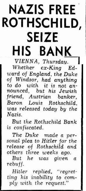 Nazis free Rotschild seize bank - The Daily News, Perth, Friday 8 April 1938, page 2