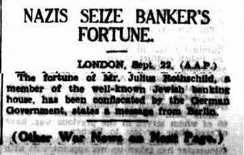 Nazis Seize Rothschild Fortune - Sydney Morning Herald, NSW, Saturday 23 September 1939, page 15