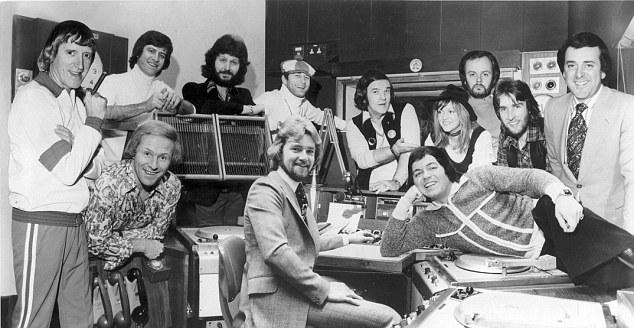 Radio 1 DJ's, (left to right) Jimmy Savile, Ed Stewart, Dave Lee Travis, Emperor Rosko, Alan Freeman, Annie Nightingale, John Peel (DEAD), Johnnie Walker, Terry Wogan (foreground) David Hamilton, Noel Edmonds, Tony Blackburn (not dated) . Sir Jimmy Savile died 29/10/2011