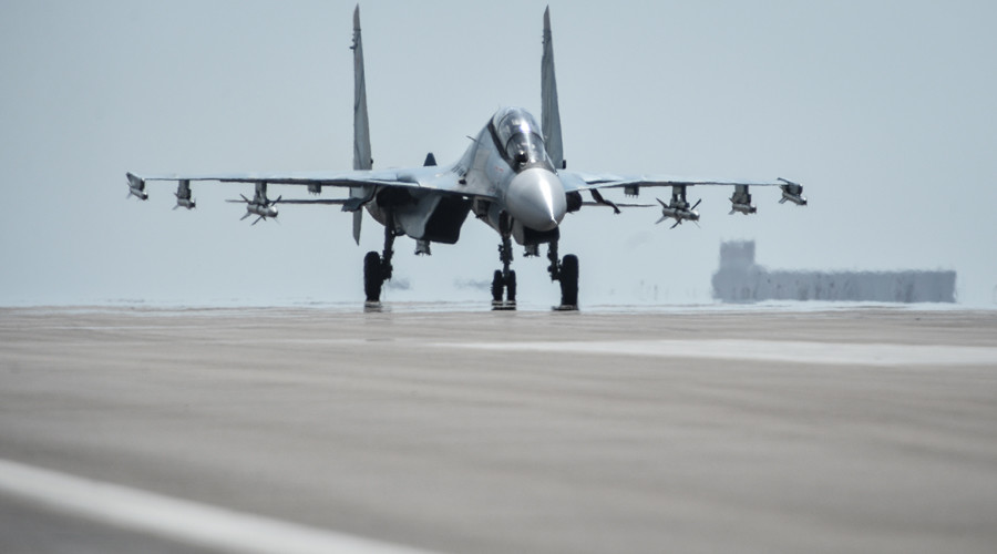 A Su-30 SM aircraft prepares to take off from the Hmeimim airbase in the Latakia Governorate of Syria. © Ramil Sitdikov