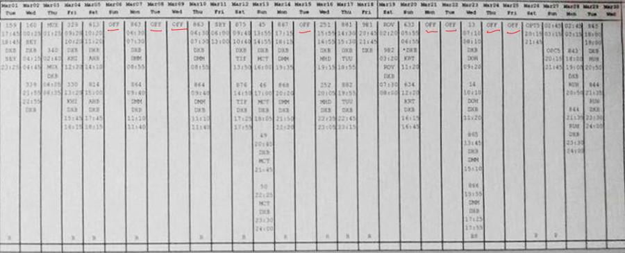 Leaked flight log of the co-captain of flight FZ981 Alejandro Cruz Alava