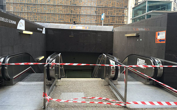 Schuman Metro station in Brussels closed