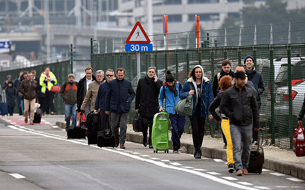 Passengers are evacuated from Brussels Airport