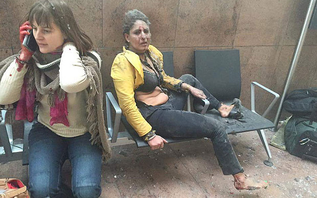 Wounded passengers at Brussels airport