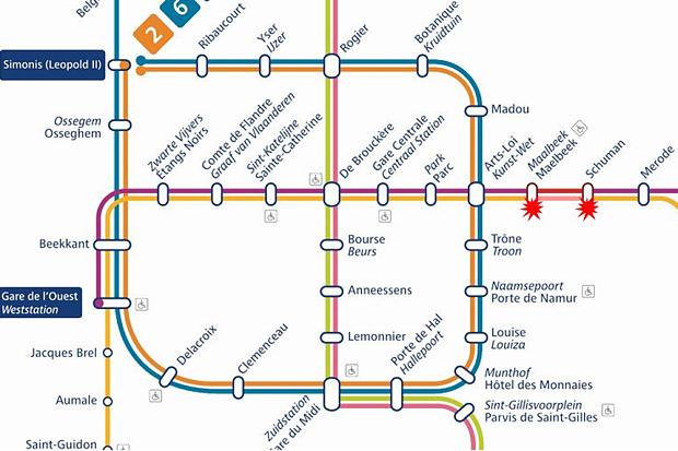 Explosion reported between Maalbeek and Schuman metro stations