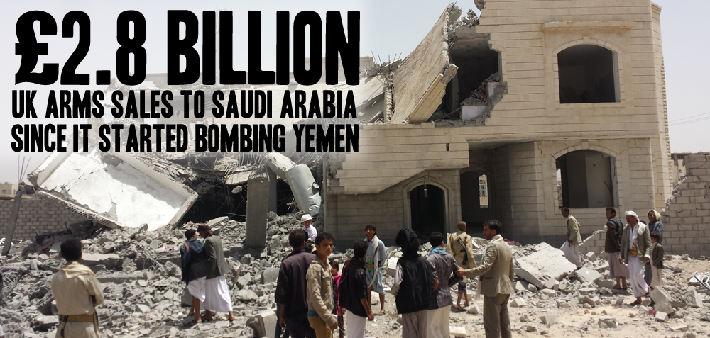 Destroyed buildings with people in foreground, air strike in Sana'a, May 2015, with text £2.8 billion UK arms sales to Saudi Arabia since it started bombing Yemen