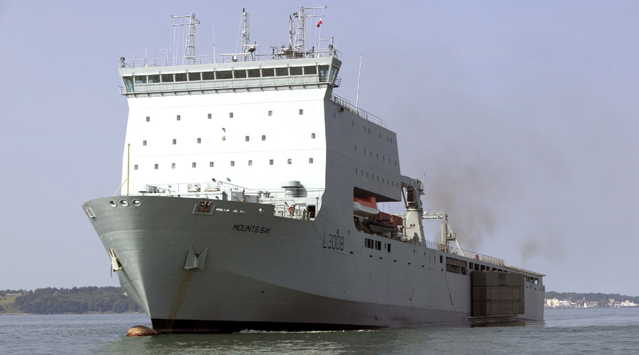 RFA Mounts Bay, a Bay class auxiliary landing ship dock of the Royal Fleet Auxiliary. © Graeme Main