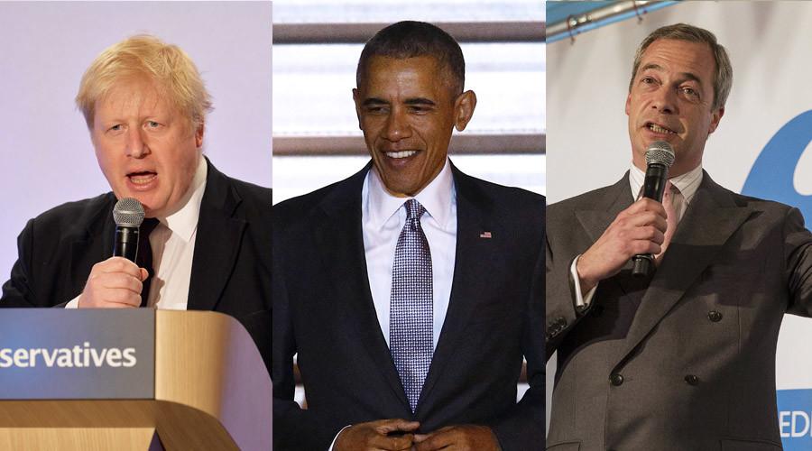 Mayor of London, Boris Johnson, U.S. President Barack Obama and UKIP party leader Nigel Farage © Reuters