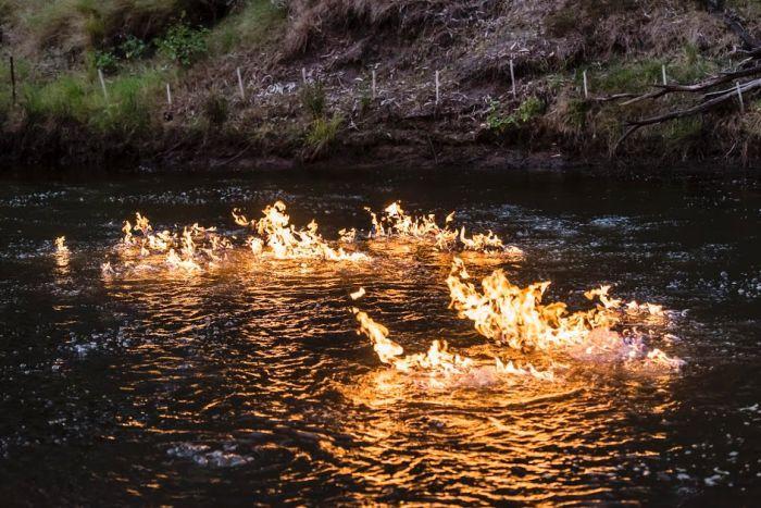 Condamine River on fire
