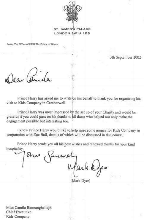 Kids Company Letter From Prince Charles