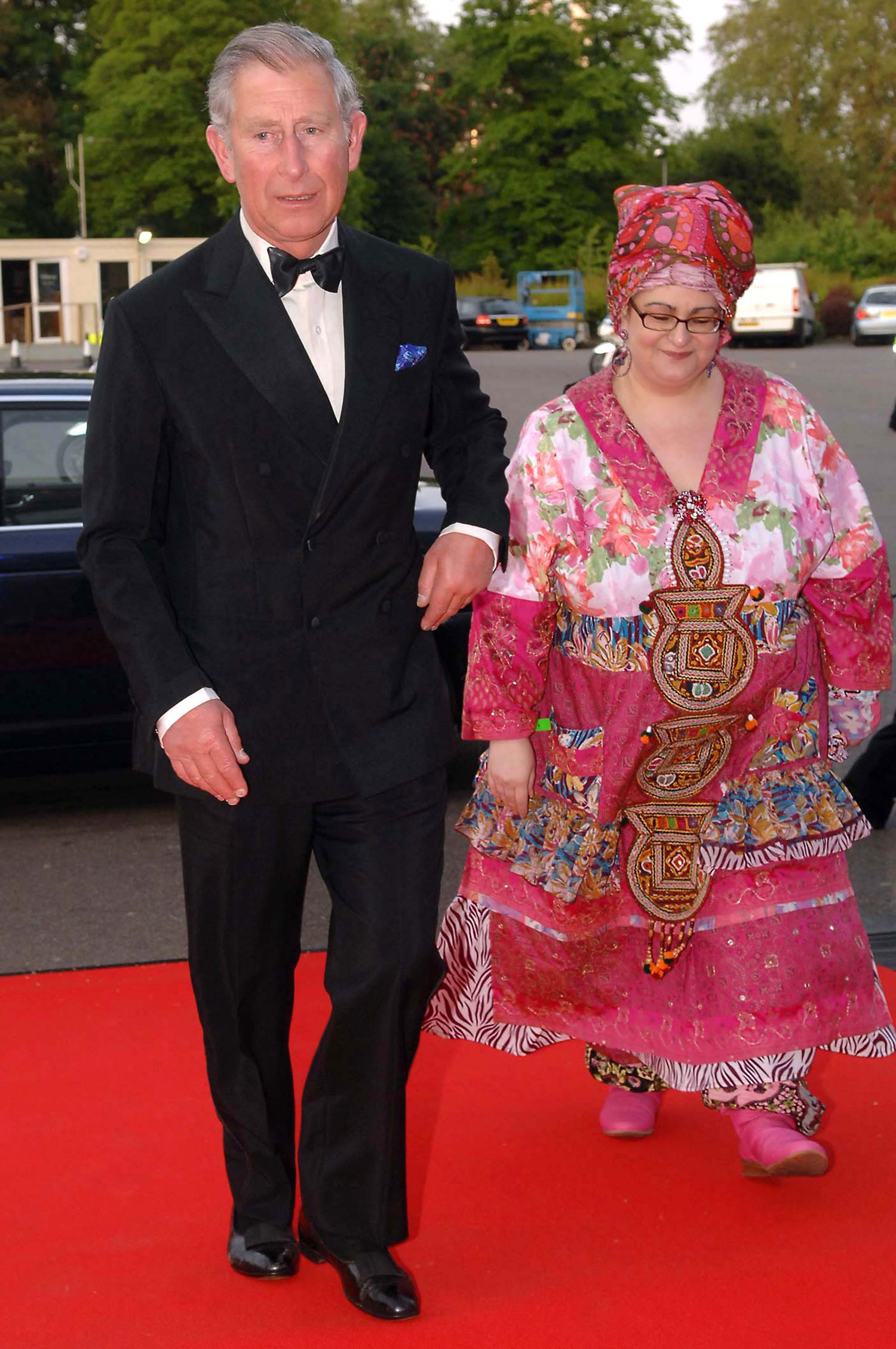 Prince Charles, Prince of Wales is greeted by founder Camila Batmanghelidjh as he arrives at a Kids Company dinner on May 14, 2008 in London, England
