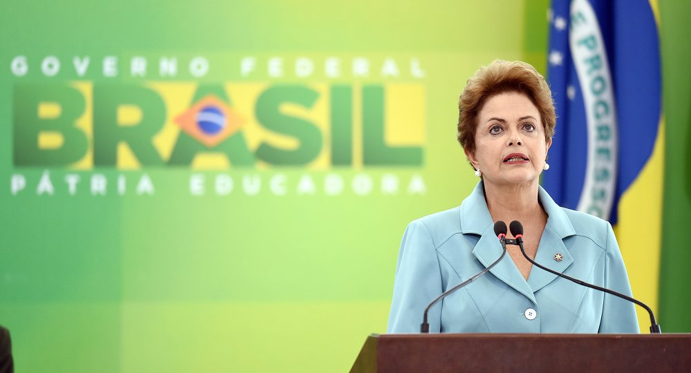 Brazilian President Dilma Rousseff delivers a speech on May 8, 2015, during a ceremony at the Planalto Palace in Brasilia to mark the 70th anniversary of the victory over Nazi Germany during World War II