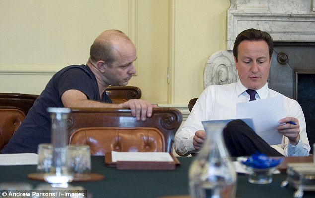 In a shattering blow to the Prime Minister, Steve Hilton (pictured together in a Cabinet Room at Number 10) claims the UK is 'literally ungovernable' as a democracy while it remains in a club that has been 'corruptly captured' by a self-serving elite
