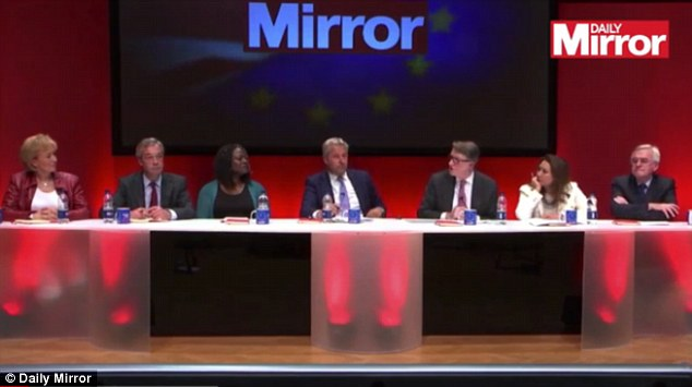 Energy minister Andrea Leadsom (pictured far left alongside Nigel Farage, author Dreda Say Mitchell, host Mark Austin, former Labour minister Lord Mandelson, former Labour spin doctor Ayesha Hazarika and Shadow Chancellor John McDonnell) said the 'out-of-touch immigration has to stop' because it was putting too much strain on public services and forcing down pay for low-paid workers.