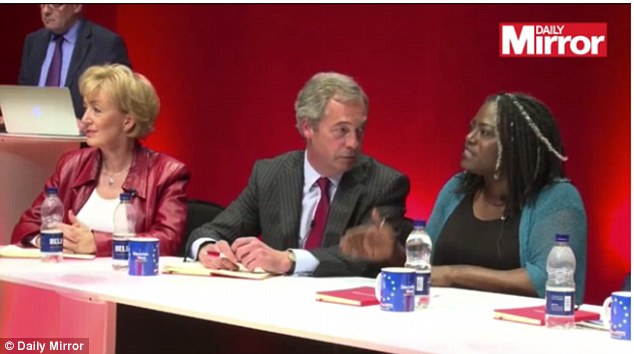 In a fiery debate ahead of June's EU referendum, the pro-Brexit Tory minister Andrea Leadsom (pictured left alongside fellow Leave campaigners Nigel Farage and author Dreda Say Mitchell) said Britain must leave the Brussels club to fill a skills shortage that has been caused by open door immigration from the EU