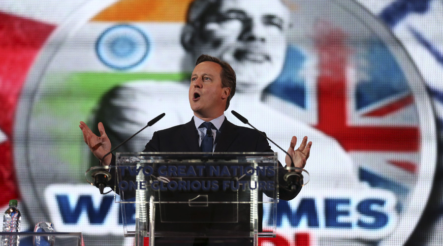 British Prime Minister David Cameron addresses a welcome rally for India's Prime Minister Narendra Modi at Wembley Stadium in London. File photo. © Justin Tallis