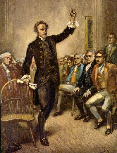 Patrick Henry speaking at the 1774 Continental Congress