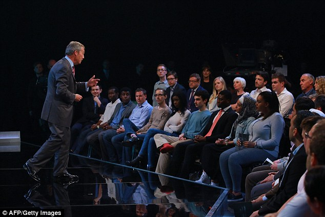 Grilled: Nigel Farage came under prolonged attack for having allegedly raised racial harmony this week (he denied this). And the Ukip leader was less prepared to soak up the criticisms, telling a woman who attacked him over the Cologne sex attacks to'calm down there a little'