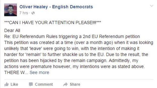 Oliver Healey Facebook post