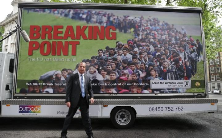 Nigel Farage with the controversial Ukip poster