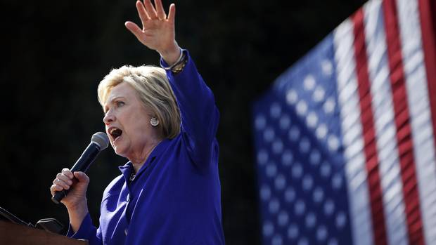 Democratic presidential candidate Hillary Clinton speaks at a rally in Los Angeles (AP)