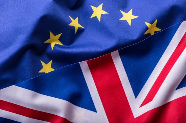 Flags of the United Kingdom and the European Union. UK Flag and EU Flag. British Union Jack flag