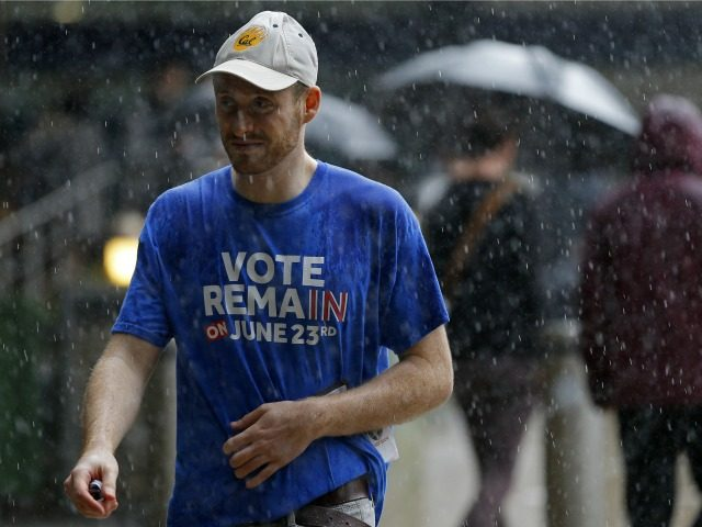 A man wearing a 'Vote Remain' t-shirt walks in the rain in central London on June 23, 2016, as Britain holds a referendum to vote on whether to remain in, or to leave the European Union (EU). Millions of Britons began voting Thursday in a bitterly-fought, knife-edge referendum that could tear up the island nation's EU membership and spark the greatest emergency of the bloc's 60-year history.
