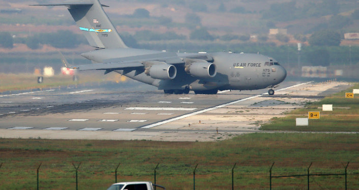 A United States Air Force cargo plane maneuvers on the runway after it landed at the Incirlik Air Base, on the outskirts of the city of Adana, southern Turkey, Friday, July 31, 2015