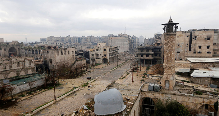 A general view shows a frontline in Old Aleppo