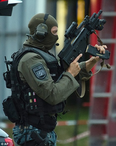 Armed police patrolled the streets of Munich