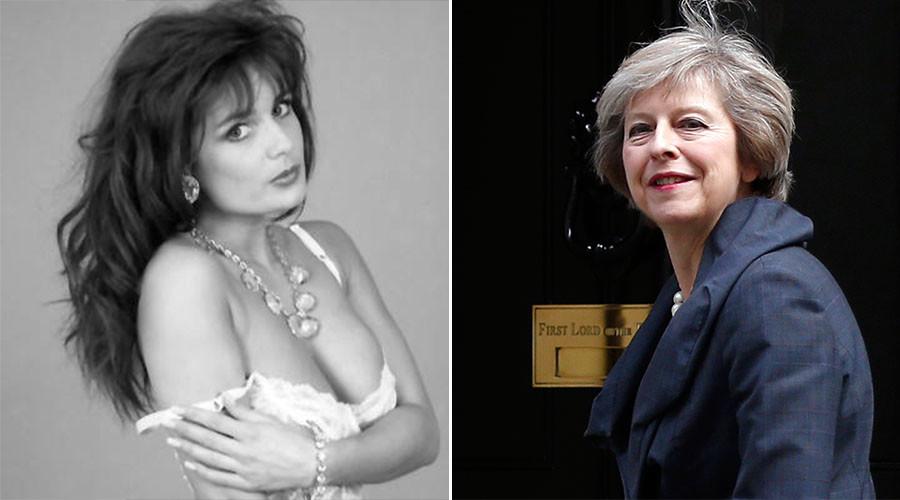 Glamour model Teresa May (L) and Britain's Home Secretary Theresa May. ©Facebok