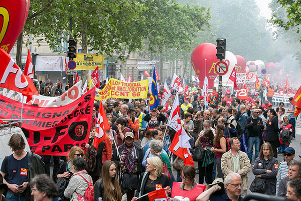 Part of a 100,000 strong demonstration in Paris yesterday, Thursday