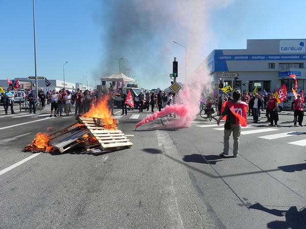 Strikers blockade the road in Besancon, east France
