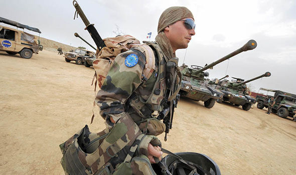 A soldier with an EU arm badge