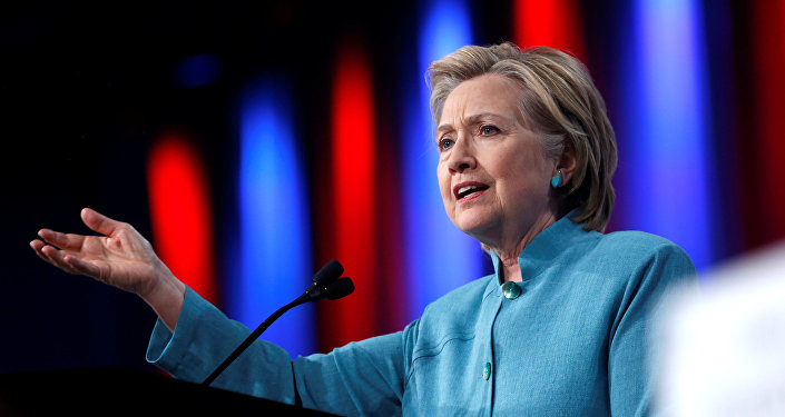 Democratic US presidential candidate Hillary Clinton speaks at the U.S. Conference of Mayors 84th Annual Meeting in Indianapolis, Indiana United States