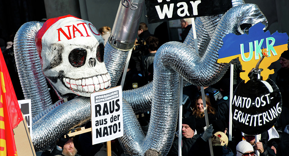 Demonstrators take part in a protest titled There is no Peace with NATO in front of the venue of the 51st Munich Security Conference (MSC) in Munich, southern Germany (File)