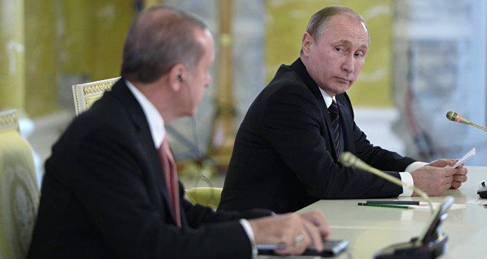 Russian President Vladimit Putin meets Turkish President Recep Tayyip Erdogan in St. Petersburg