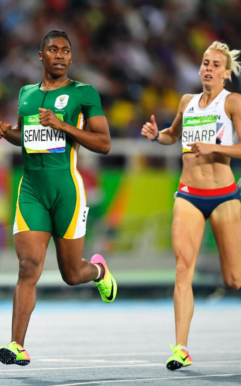 Caster Semenya and Lynsey Sharp compete in the semi-final for the women's 800m at the Rio Olympics