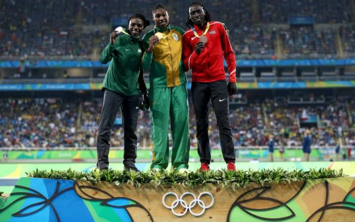 From left: Francine Niyonsaba, who won silver, Caster Semenya, who won gold, and Margaret Wambui, who won bronze, after the women's 800m final at the Rio Olympics