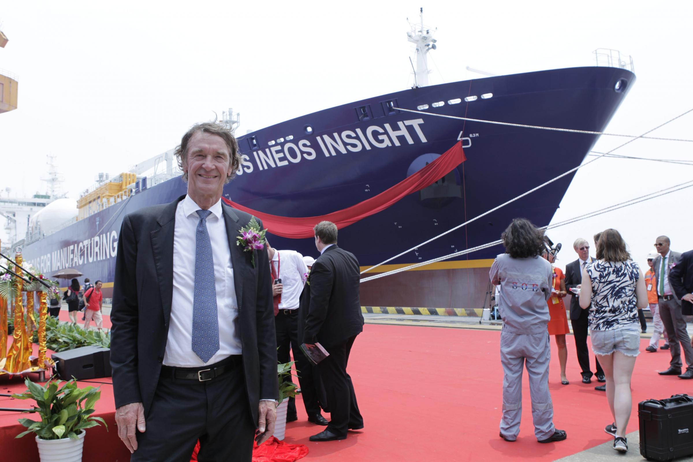 INEOS boss Jim Ratcliffe with one of the giant purpose-built Ineos ships that will transport fracked gas from America to Scotland