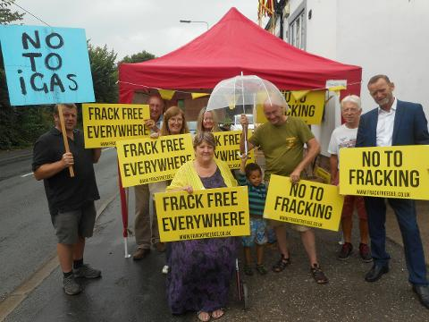 Ant-fracking activists outside Mickle Trafford Village Hall