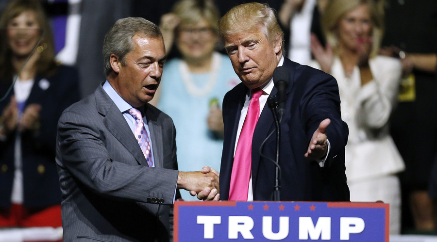 Republican Presidential nominee Donald Trump, right, invites United Kingdom Independence Party leader Nigel Farage to speak during a campaign rally at the Mississippi Coliseum on August 24, 2016 in Jackson, Mississippi. © Jonathan Bachman