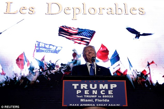 Bastille Day? Donald Trump entered his Miami rally on Friday as the theme song from 'Les Miserables' played and the video wall behind the podium flashed to tribute artwork including an insult aired by Hillary Clinton a week ago