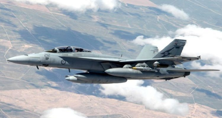 An RAAF Super Hornet in the sky over Iraq. The RAAF gave no details of the planes involved in the operation Australian Defence Force: Sgt Pete
