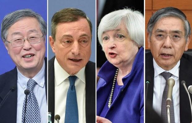 People's Bank of China Gov Zhou Xiaochuan ECB President Mario Draghi Fed Chairwoman Janet Yellen Bank of Japan Haruhiko Kuroda