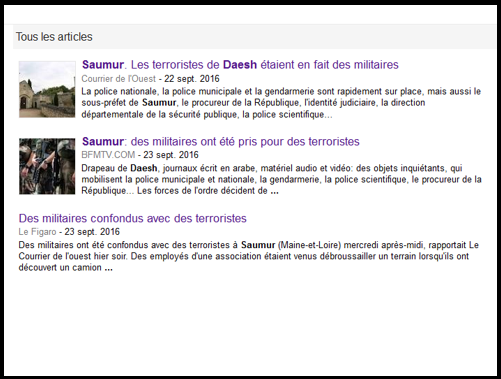Only three articles from national media appear in the Google news search about this case. The almost complete silence from major French media on this incredible case, which raised strong emotions in Saumur, is extremely strange.