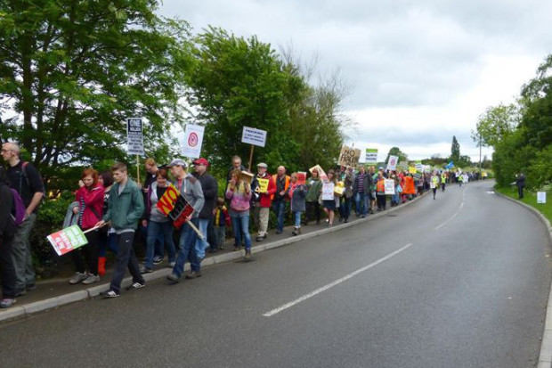 Anti-fracking campaigners at the Misson site.